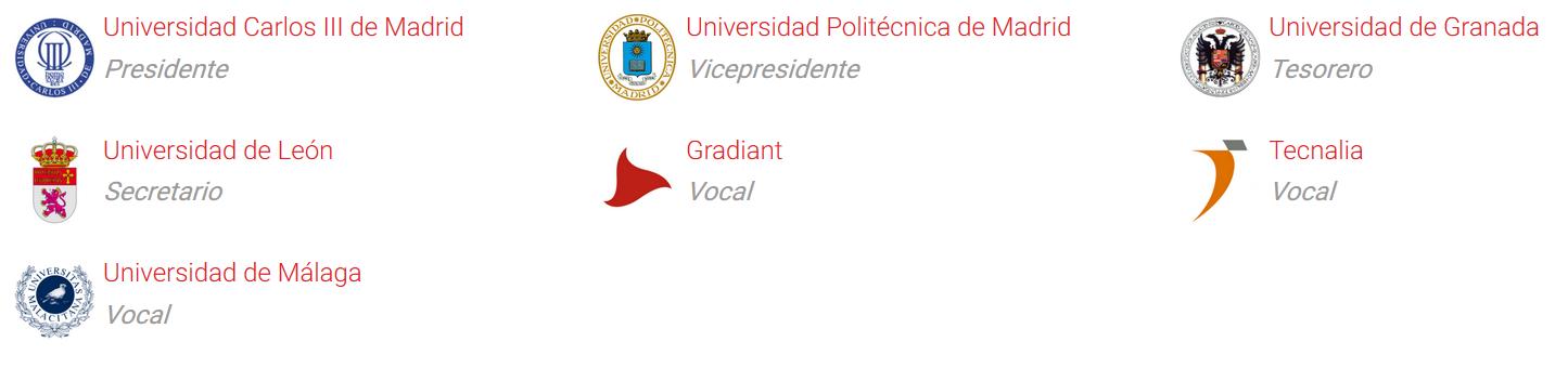 Presidente: Universidad Carlos III de Madrid, Vicepresidente: Universidad Politécnica de Madrid, Tesorero: Universidad de Granada, Secretario: Universidad de León,  Vocales: Grandiant, Tecnalia y Universidad de Málaga
