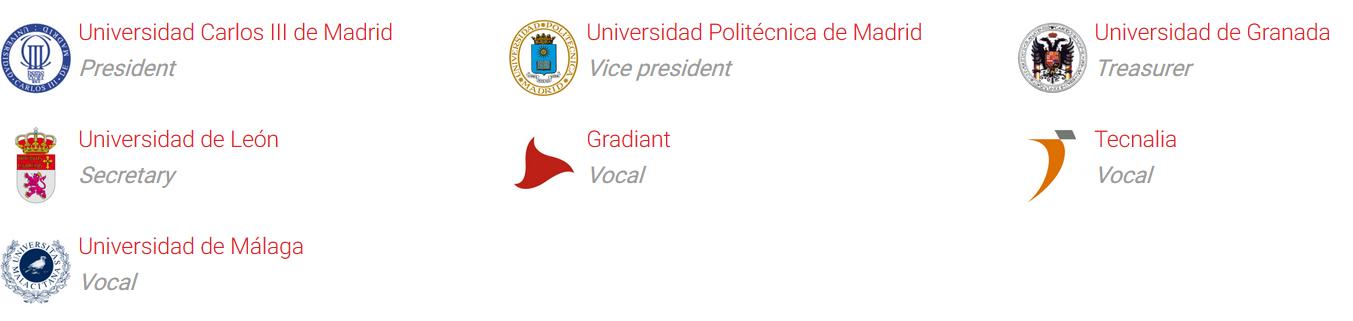 President: Universidad Carlos III de Madrid, Vice president: Universidad Politécnica de Madrid, Treasurer: Universidad de Granada, Secretary: Universidad de León,  Vocals: Grandiant, Tecnalia and Universidad de Málaga